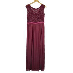 David's bridal floor length formal lace top dress